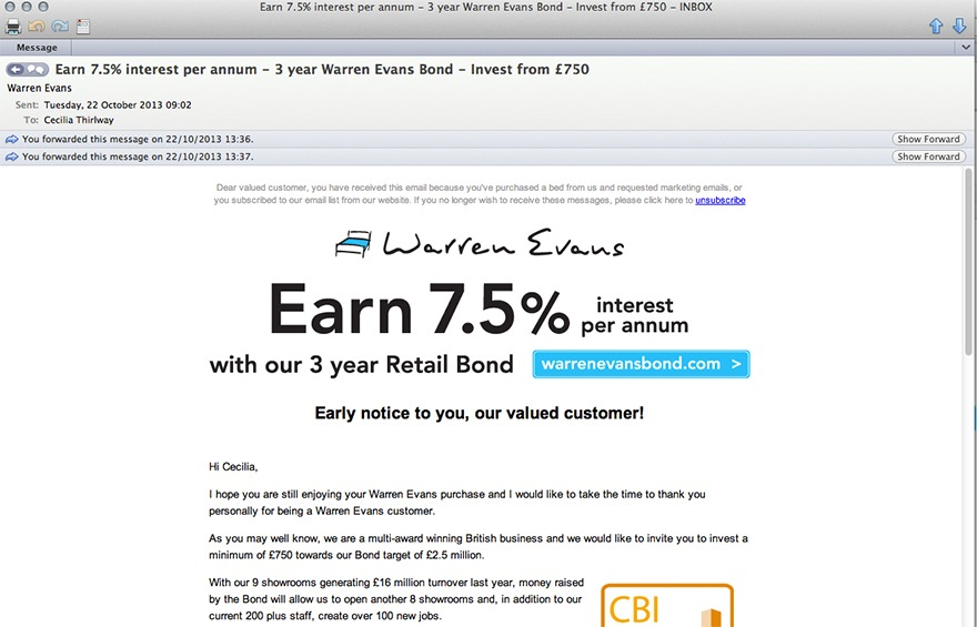 Screen grab of email from Warren Evans bond offer