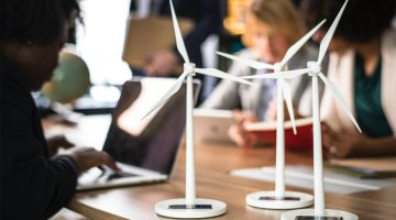 Model wind turbines on a desk