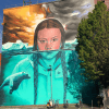Mural of Greta Thunberg at Upfest, Bristol