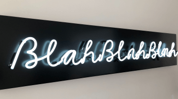 Image showing a neon light spelling out blah blah blah